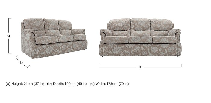 Florence Small 3 Seater Fabric Sofa in  on FV