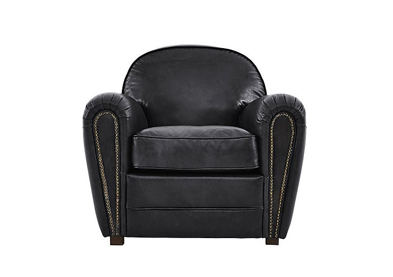 Camden Market Leather Armchair in Antique Black Ao on FV
