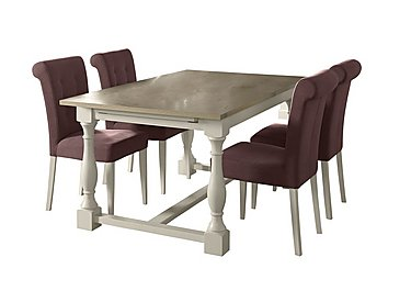 Pierre Extending Dining Table and 4 Upholstered Dining Chairs