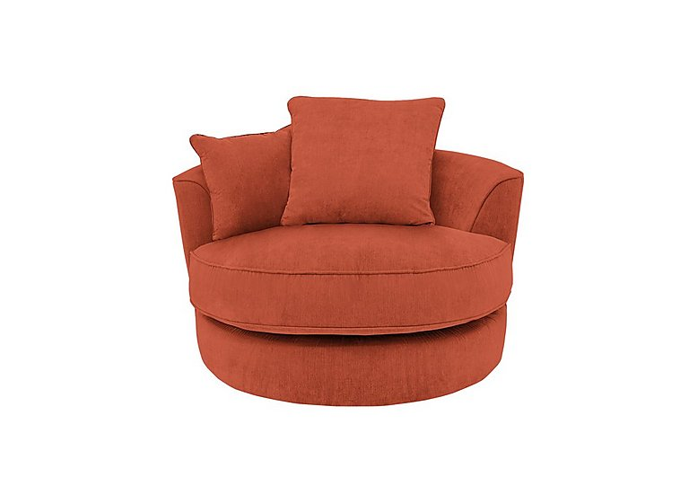 Tangier Fabric Snuggler Swivel Armchair in Cosmo Spice - Dark Feet on FV