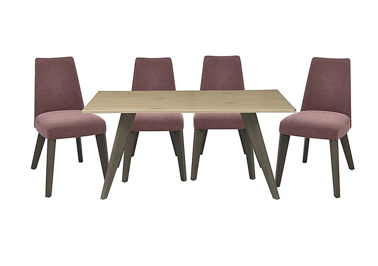 Cavendish Dining Table and 4 Chairs in Mulberry Fabric on Furniture Village