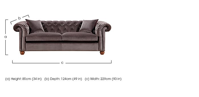 Downton 3 Seater Fabric Sofa in  on FV