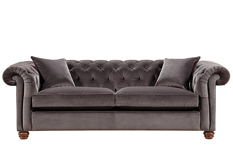 Downton 3 Seater Fabric Sofa in Brianza Velvet Mole on FV
