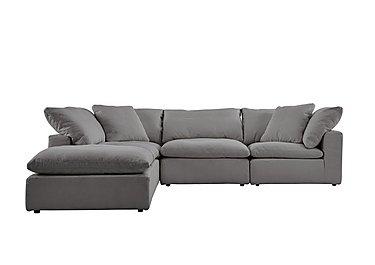 Cloud 5 Piece Corner Sofa including Footstool in Village Linen Clay on FV