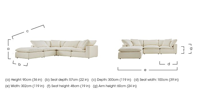 Cloud 5 Piece Corner Sofa including Footstool in  on FV