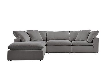 Cloud 5 Piece Corner Sofa including Footstool in Village Linen Clay on Furniture Village