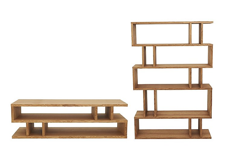 Elmari Coffee Table and Tall Shelving Unit in Light Oiled on FV