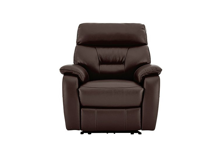Fontana Leather Manual Recliner Armchair - Only One Left! in Sk 097d Dark Brown on FV