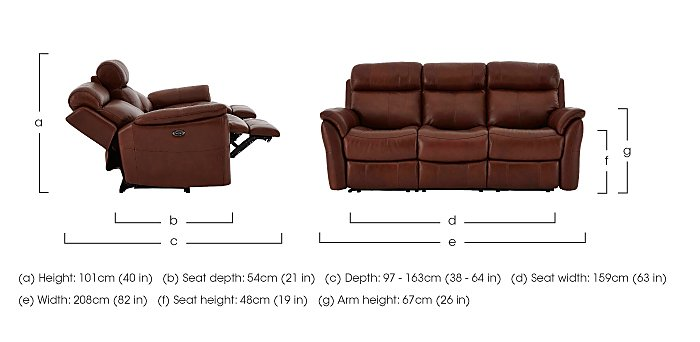 Revive 3 Seater Leather Manual Recliner - Limited Stock
