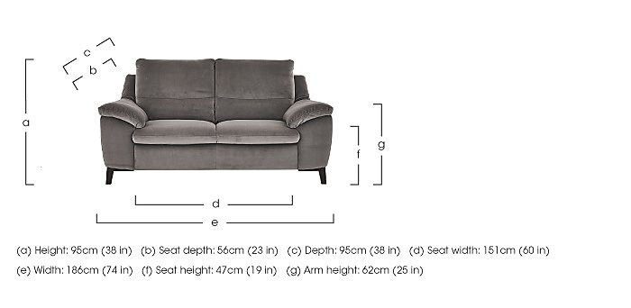 Puglia 2.5 Seater Fabric Recliner Sofa in  on FV