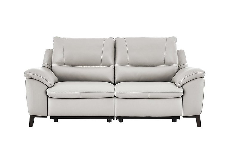 Puglia 2.5 Seater Leather Recliner Sofa in Phoenix15g3 Lighttaupe Cswhite on FV
