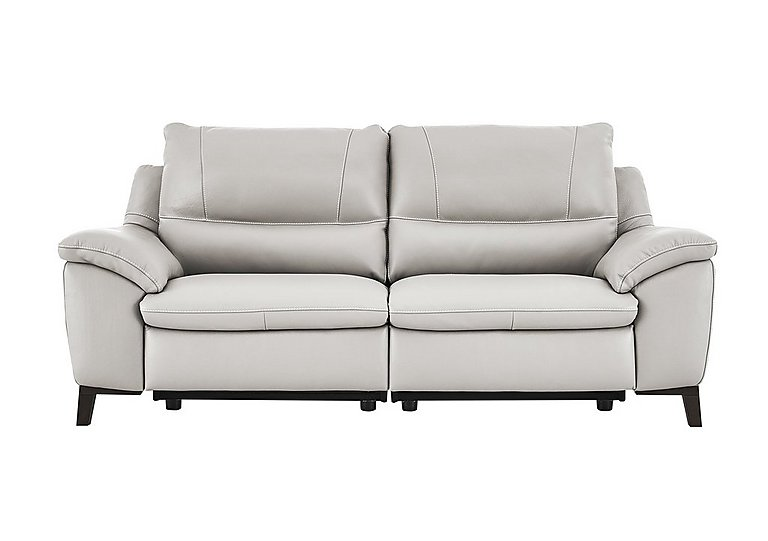 Puglia 3 Seater Leather Recliner Sofa in Phoenix15g3 Lighttaupe Cswhite on FV