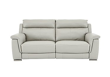Glider 2 Seater Leather Recliner Sofa - Only One Left! in An-041e Oyster Grey on FV