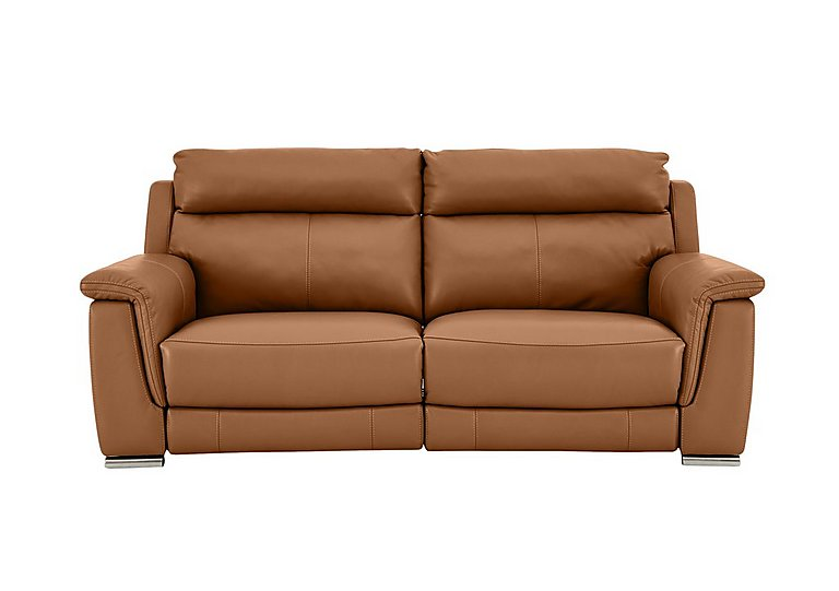 Glider 2 Seater Power Recliner Leather Sofa - Only One Left! in Sk598d Caramel on FV