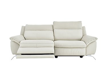 Napoli 3 Seater Leather Power Recliner - Only One Left! in Denver 10bl White - Contrast on FV