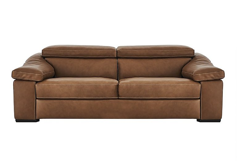 Sanremo 3 Seater Leather Sofa in Dc20jr Rawhide Camel Cs Hemp on FV