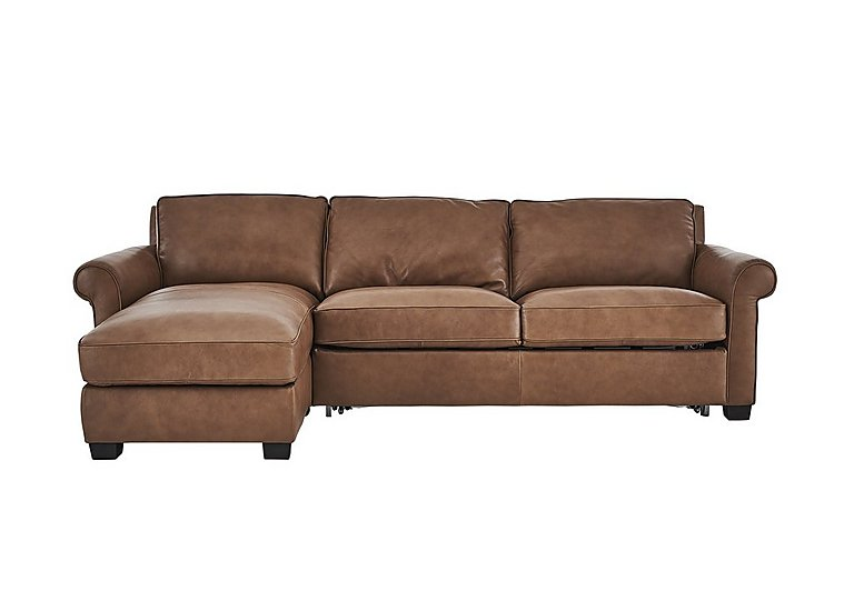 Campania Leather Corner Chaise Sofa Bed with Storage in Bari 10yn Sambuco on FV