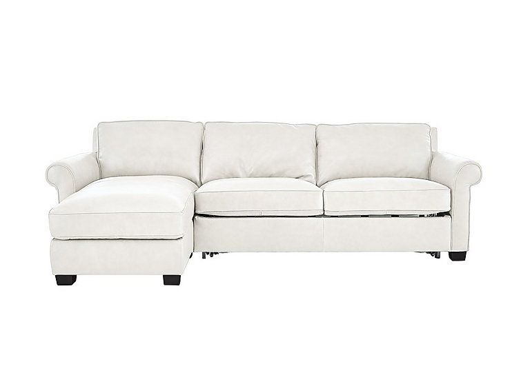 Campania Leather Corner Chaise Sofa Bed with Storage