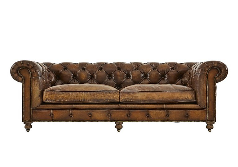 Kingston Mews 3 Seater Leather Sofa in Old England Coffee Wo on FV