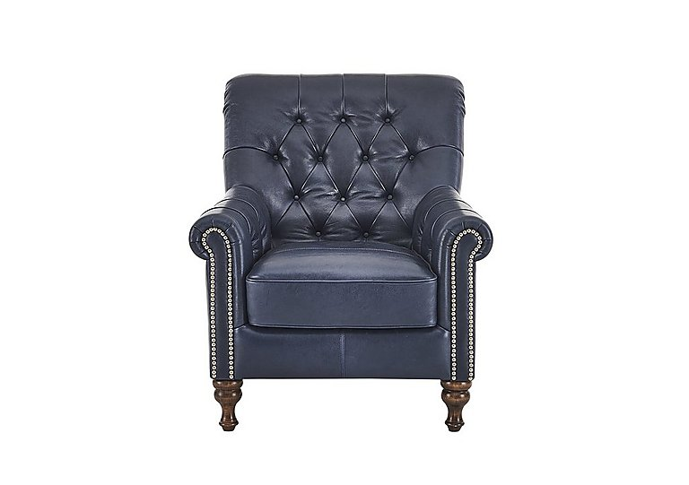 Cuba Leather Armchair in Dutch Blue Stud Copper on FV