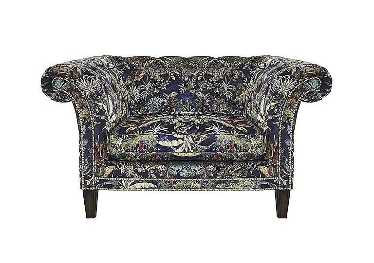 Aruba Fabric Snuggler Armchair in Flora Cruise Pewter Stud Dk on Furniture Village