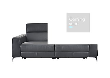 Livorno 2 Seater Leather Recliner Sofa in 20ji Antracite Cs Light Grey on FV