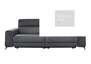 Livorno 3 Seater Leather Recliner Sofa in 20ji Antracite Cs Light Grey on FV