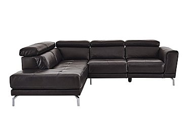 Calabria Leather Recliner Corner Chaise in Denver 10bh Drk Brwn Cs Drk Bg on FV