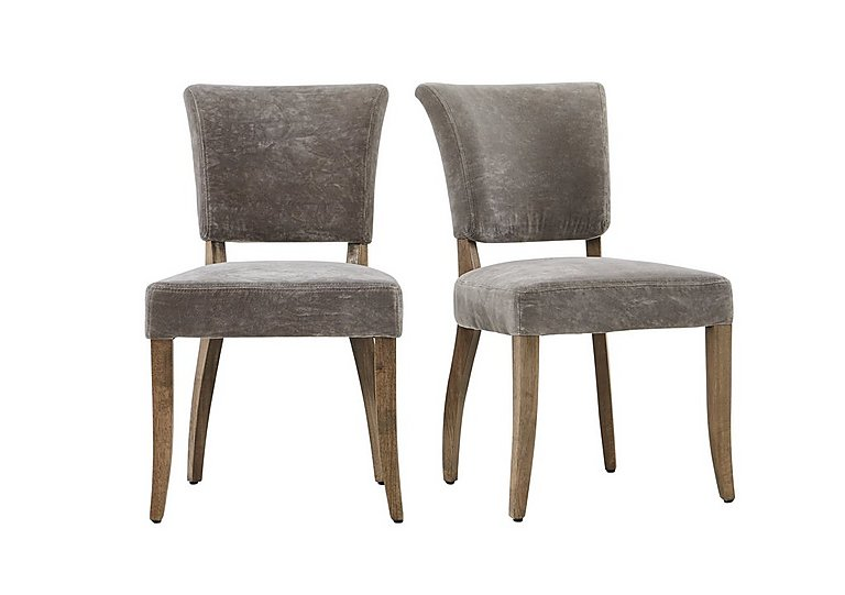 Barbican Pair of Moleskin Dining Chairs in Mimi Vintage Moleskin Fog on FV