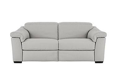Sensor 3 Seater Recliner Leather Sofa in Phoenix 15g3 Lgt Taupe Cs Whit on Furniture Village