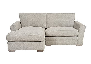 Ashridge Small Fabric Corner Chaise in Cavolo Plain Stone Lo Ft on FV