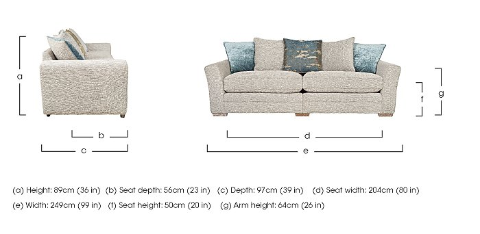 Ashridge 4 Seater Fabric Sofa in  on FV