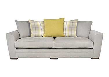 Wilton 4 Seater Fabric Pillow Back Sofa in Steel Lime Balm Citrus Dk Ft on Furniture Village
