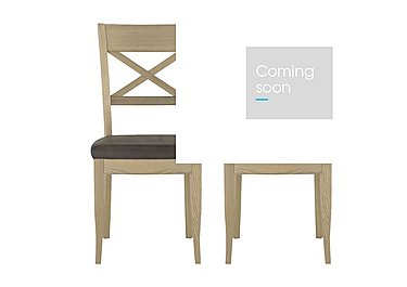 Pierre Pair of Cross Back Dining Chairs in Brown Bonded Leather Oak on FV