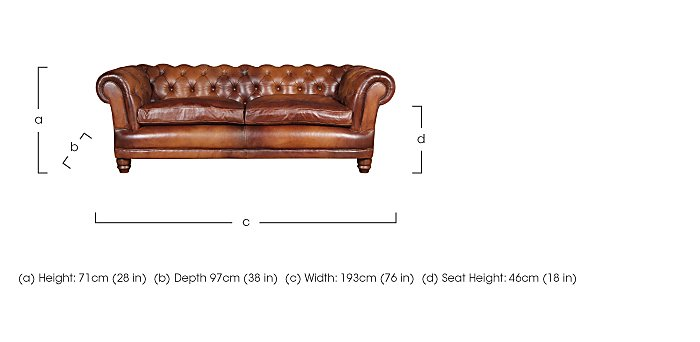Chatsworth 3 Seater Leather Fabric in  on FV