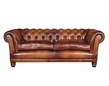 Chatsworth 3 Seater Leather Fabric in Bangkok Cognac Natural Feet on FV