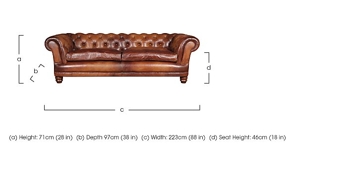 Chatsworth 4 Seater Leather Sofa  in {$variationvalue}  on FV