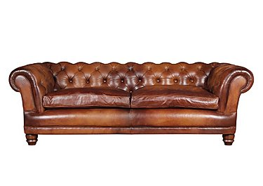 Chatsworth 4 Seater Leather Sofa in Bangkok Cognac Natural Feet on FV
