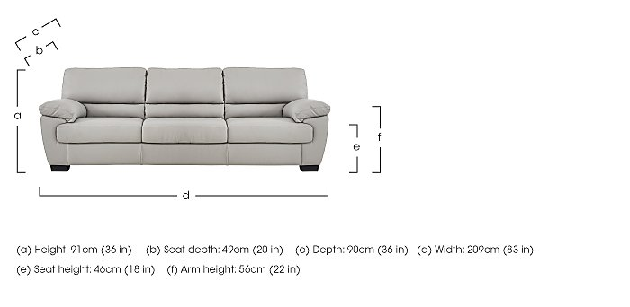 Alvera 3 Seater Leather Sofa in  on FV