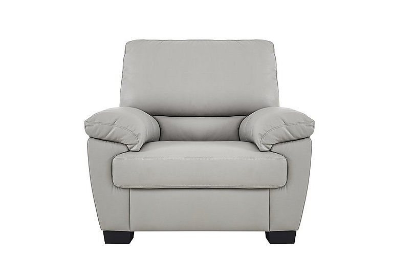 Alvera Leather Armchair in Denver 10bz Sg Medium Grey on Furniture Village