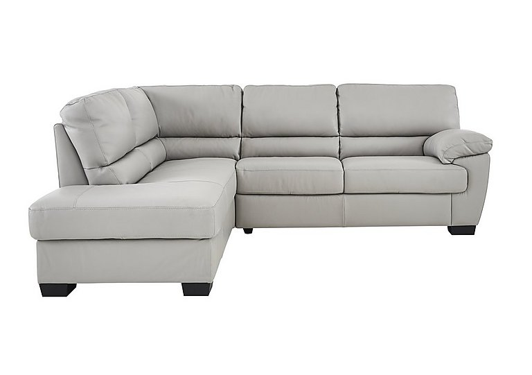 Alvera Leather Corner Sofa in Denver 10bz Sg Medium Grey on FV