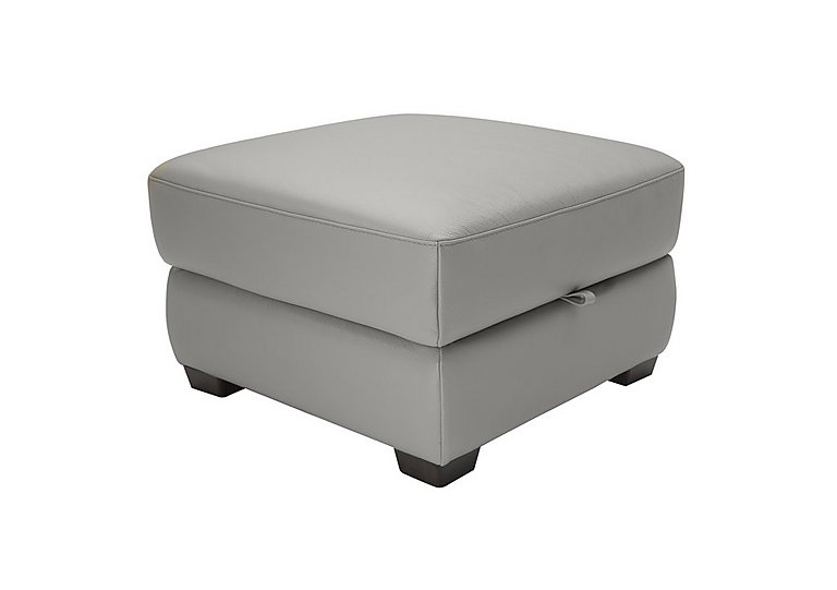 Alvera Leather Storage Footstool in Denver 10bz Sg Medium Grey on FV