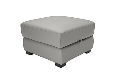 Alvera Leather Storage Footstool in Denver 10bz Sg Medium Grey on FV
