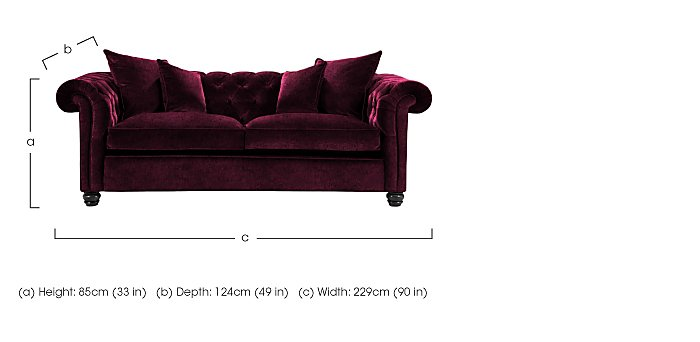 Curzon 3 Seater Fabric Sofa in  on FV