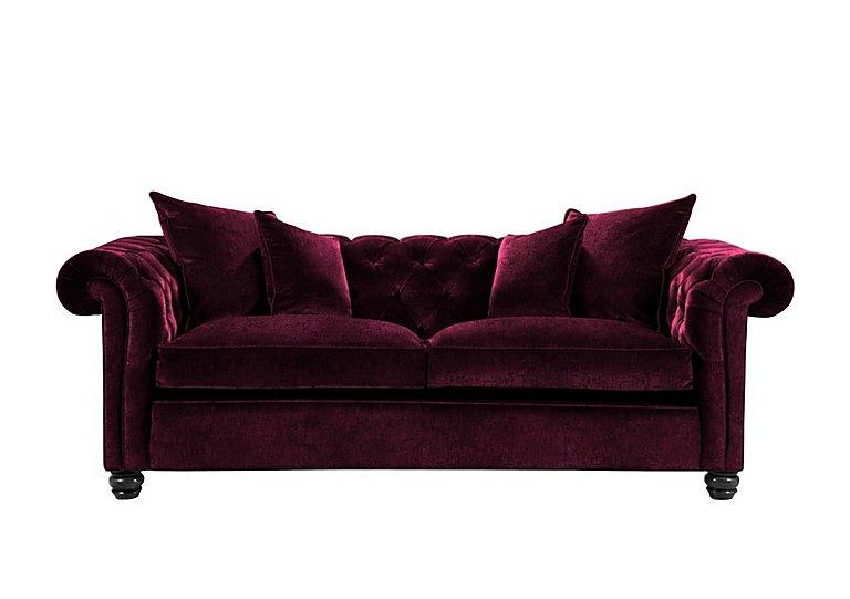 Curzon 3 Seater Fabric Sofa in Rembrandt Vel Alizarin Crimson on FV