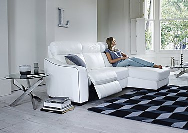 Cressida Leather Recliner Corner Chaise Sofa in  on FV