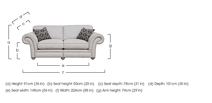 Langar 3 Seater Fabric Sofa in  on FV