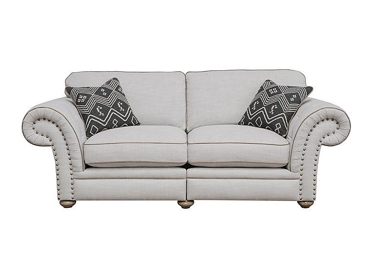 Langar 3 Seater Fabric Sofa in Merch Linen Cloud Light Feet on FV
