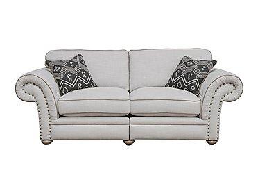 Langar 3 Seater Fabric Sofa in Merch Linen Cloud Light Feet on Furniture Village