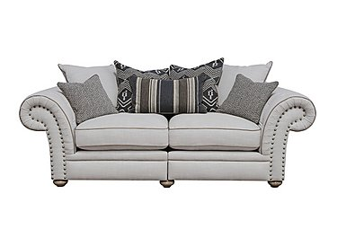 Langar 3 Seater Fabric Pillow Back Sofa in Merch Linen Cloud Light Feet on Furniture Village